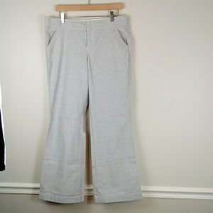 Blue and white oxford cloth wide leg trousers